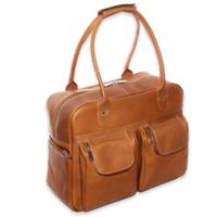 Piel® Leather Multi-Pocket 15-Inch Satchel Duffel Bag in Saddle