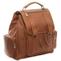 Piel® Leather Classic Double Loop Flap-Over Laptop Backpack in Saddle