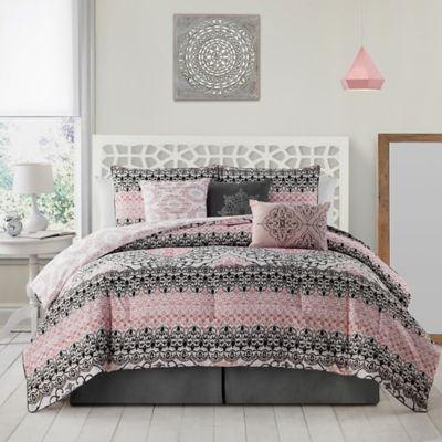 Celia 7 Piece King Comforter Set In Grey/Pink