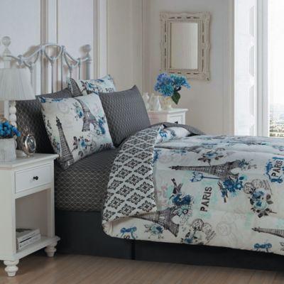 cherie 8piece queen complete comforter set in blue - Queen Bed Comforter Sets