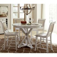 Willow Round Counter Height Dining Table in Distressed White