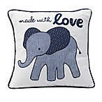 Lambs & Ivy® Elephant  Made with Love  Square Throw Pillow in Indigo