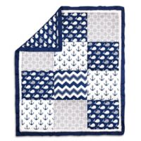 The Peanut Shell® Whale Patch Quilt in Navy