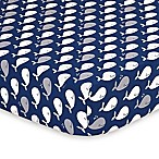 The Peanut Shell® Whale Fitted Crib Sheet in Navy