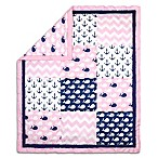 The Peanut Shell® Whale Reversible Patch Quilt in Pink