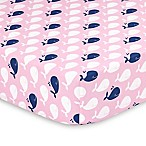 The Peanut Shell® Whale Fitted Crib Sheet in Pink