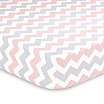 The Peanut Shell® Uptown Girl Chevron Crib Sheet in Coral
