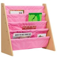Levels of Discovery 4-Pocket Book Rack in Natural/Pink
