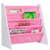 Wildkin Kid's Kai Sling Bookshelf in White/Pink