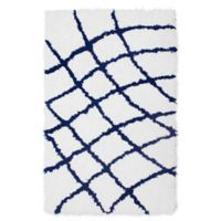 Vista Living Diamond 2-Foot x 3-Foot Shag Accent Rug in Indigo/White