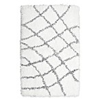 Vista Living Diamond 2-Foot 3-Inch x 3-Foot 9-Inch Shag Accent Rug in Grey/White