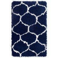 Vista Living Alfred Chunky Shag 2-Foot 3-Inch x 3-Foot 9-Inch Accent Rug in White/Indigo