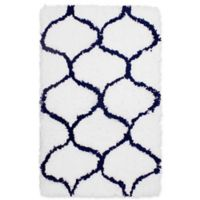 Vista Living Alfred Chunky Shag 2-Foot 3-Inch x 3-Foot 9-Inch Accent Rug in Indigo/White