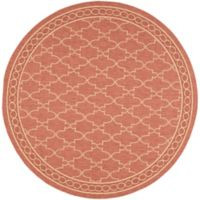 Safavieh Courtyard Trellis 6-Foot 7-Inch Round Indoor/Outdoor Area Rug in Rust