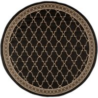Safavieh Courtyard Trellis 6-Foot 7-Inch Round Indoor/Outdoor Area Rug in Black
