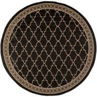 Safavieh Courtyard Trellis 7-Foot 10-Inch Round Indoor/Outdoor Area Rug in Black
