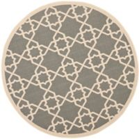 Safavieh Courtyard Track 6-Foot 7-Inch Round Indoor/Outdoor Area Rug in Grey
