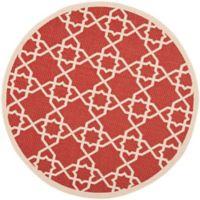 Safavieh Courtyard Track 6-Foot 7-Inch Round Indoor/Outdoor Area Rug in Red