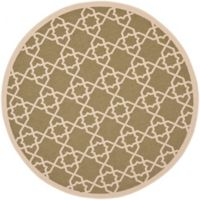 Safavieh Courtyard Track 6-Foot 7-Inch Round Indoor/Outdoor Area Rug in Green