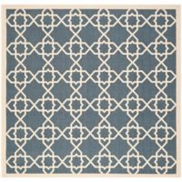 Safavieh Courtyard Track 6-Foot 7-Inch Square Indoor/Outdoor Area Rug in Navy