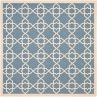 Safavieh Courtyard Track 6-Foot 7-Inch Square Indoor/Outdoor Area Rug in Blue