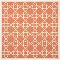Safavieh Courtyard Track 6-Foot 7-Inch Square Indoor/Outdoor Area Rug in Terracotta