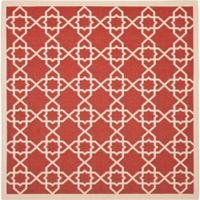 Safavieh Courtyard Track 8-Foot Square Indoor/Outdoor Area Rug in Red