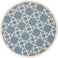 Safavieh Courtyard Track 7-Foot 10-Inch Round Indoor/Outdoor Area Rug in Blue