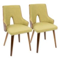 LumiSource Stella Mid-Century Modern Padded Dining Chair in Green