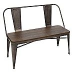 LumiSource Oregon Industrial Bench in Antique Bronze/Espresso