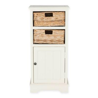 Safavieh Connery 2 Wicker Basket Storage Cabinet In Distressed White