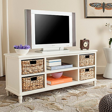 safavieh rooney tv stand in distressed white - Distressed White Tv Stands