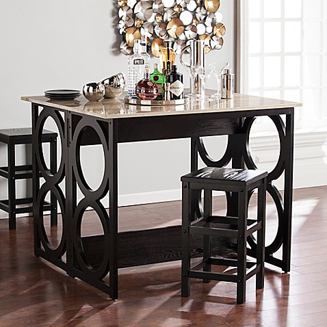 southern enterprises radia convertible faux marble counter height console dining table in black. Black Bedroom Furniture Sets. Home Design Ideas