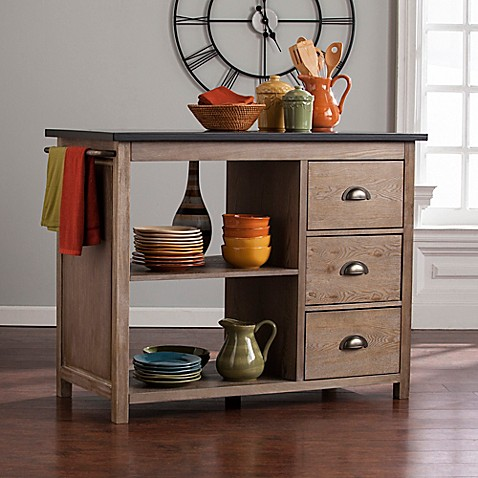 Southern enterprises denning industrial kitchen island in burnt oak bed bath beyond - Industrial kitchen island for sale ...