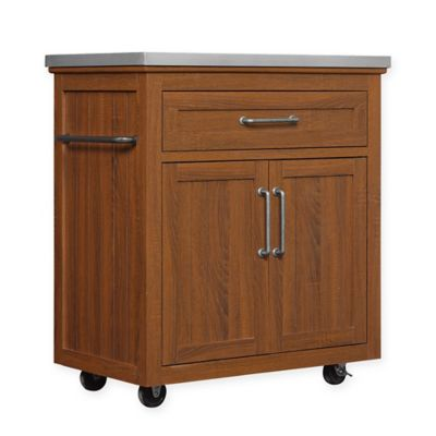 bellu0027o madeleine wheeled kitchen cart with stainless steel topoak finish
