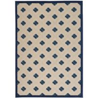 Nourison Aloha Lattice 2-Foot 8-Inch x 4-Foot Indoor/Outdoor Accent Rug in Navy