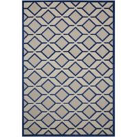 Nourison Aloha Geometric 2-Foot 8-Inch x 4-Foot Indoor/Outdoor Accent Rug in Navy