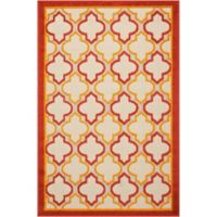 Nourison Aloha Trellis 3-Foot 6-Inch x 5-Foot 6-Inch Indoor/Outdoor Area Rug in Red