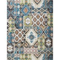 Nourison Aria Diamond Collage 7-Foot 10-Inch x 10-Foot Area Rug in Indigo