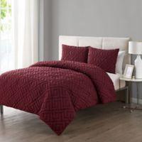 VCNY Home Artemis Embossed 3-Piece Full/Queen Comforter Set in Burgundy