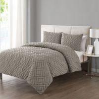 VCNY Home Artemis Embossed 3-Piece Full/Queen Comforter Set in Taupe