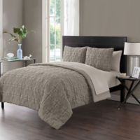 VCNY Home Gate Embossed 7-Piece Full Comforter Set in Taupe
