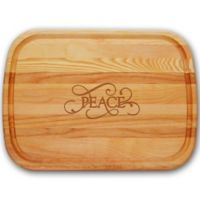 """Carved Solutions Everyday Collection """"Peace"""" 21-Inch x 15-Inch Cutting Board"""