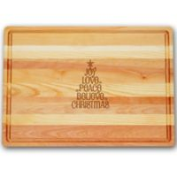 Carved Solutions Joy-Love-Peace Tree Master Collection 20-Inch x 14-1/2-Inch Large Cutting Board