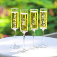 Cathy's Concepts Wedding Party Contemporary Champagne Flutes (Set of 4)