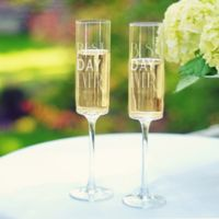 """Cathy's Concepts """"Best Day Ever"""" Contemporary Champagne Flutes (Set of 2)"""