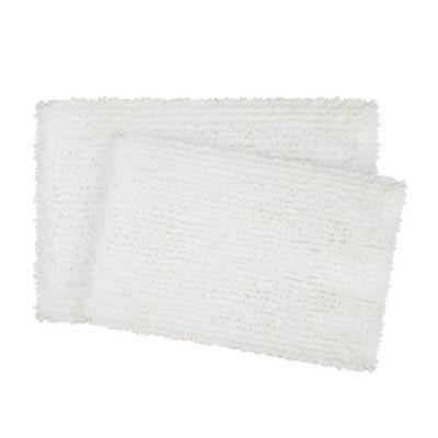 Laura Ashley Mega Chenille Bath Rugs In White (Set Of 2)