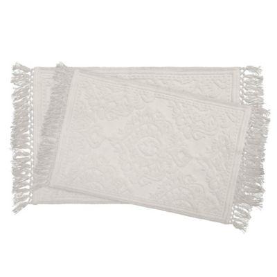 Ricardo Cotton Fringe Bath Rugs In White (Set Of 2)