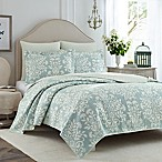 Laura Ashley® Rowland King Quilt Set in Aqua