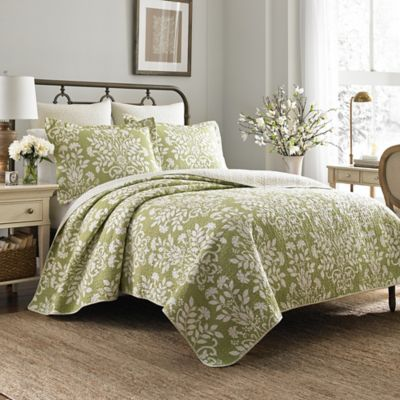 Laura Ashley® Rowland Full/Queen Quilt Set In Light Green